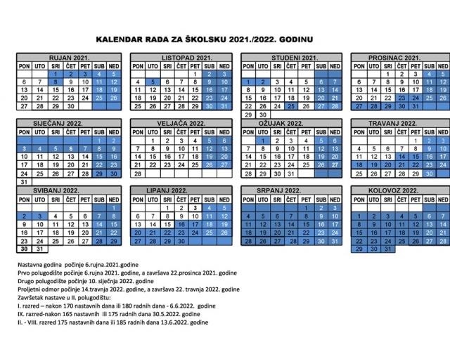 KALENDARA RADA ŠKOLE ZA ŠKOLSKU 2021./2022. GODINU