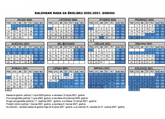 KALENDARA RADA ŠKOLE ZA ŠKOLSKU 2020./2021. GODINU